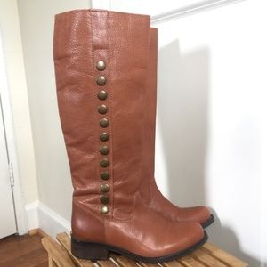 Steve Madden Tan Leather Riding Boots Stud Detail